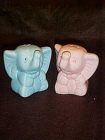 Pink and Blue elephant salt and pepper shakers