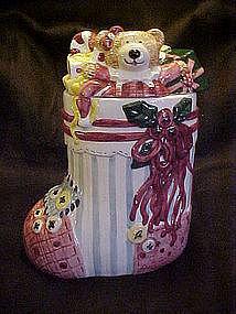 Christmas stocking  ceramic cookie jar