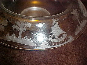 Vintage wheel cut center bowl, pagoda, boat, island