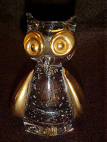 Control bubble owl paperweight with gold