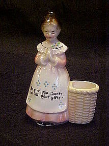 Enesco prayer ladies toothpick holder, pink dress