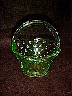Green hobnail glass basket