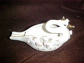Porcelain swan with roses and leaves, ashtray?