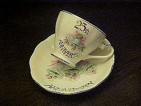 25th anniversary celebration, cup and saucer set