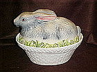 Large rabbit on a basket cookie jar casserole, lid only