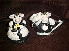 Adorable holstien dairy cow creamer and sugar set