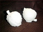 Large white ceramic leaf, salt and pepper shakers