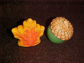 Acorn and oak leaf salt and pepper shakers, mini's