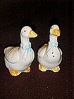 Ceramic goose shakers with blue bows