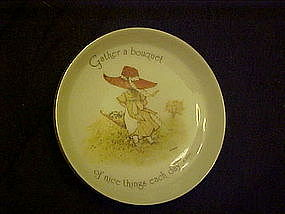 Holly Hobbie porcelain coaster, gather a bouquet.......