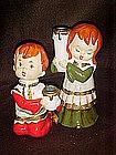 Vintage paper mache Christmas children, candleholders
