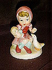 Vintage Hummel style figurine, girl, doll and duck