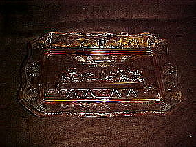 Tiara, Large Lords supper glass tray, pink, Indiana