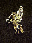 Vintage gold tone plated pegasus pin