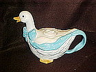 Aunt Rhody Goose tea pot with blue polka dot  bow