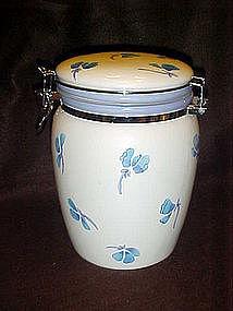 Ceramic clamp top cookie jar, blue flowers,  Inspirado