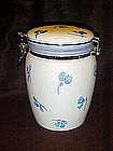 Ceramic clamp top cookie jar, blue flowers,  Inspirado