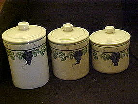 Crock Shop cannister set, grapes and vines