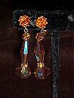 Gold aurora crystal dangle earrings