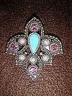 Sarah Coventry pin, amethyst, pearls, turquoise stones