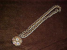 Vintage chocker pendant with aurora rhinestones