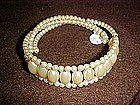 Vintage faux pearl  spring bracelet