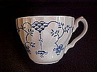 Blue Onion cups, scalloped, Churchill England