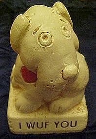 Vintage Paula  sentiment figurine, I Wuf you dog statue