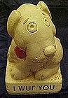 Vintage Paula  sentiment figurine, I Wuf you dog statue