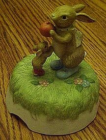 Lefton musical rabbit  and mouse figurine