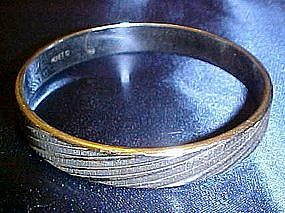 Monet silver bangle bracelet, cut  twist design