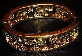 Great elephant walk hinged bracelet, rhinestone eyes