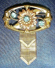 Vintage Harry Isken pin with mesh ribbons and stones