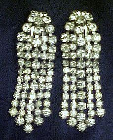 Large rhinestone cascade earrings, elegant