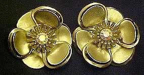 Vintage gold flower clip earrings, rhinestone center