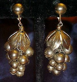 Vintage grape cluster, dangle earrings,  Celebrity