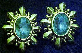 Avon blue topaz pierced earrings