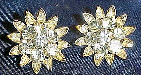 Vintage Lisner rhinestone  clip earrings