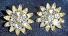 Vintage Lisner rhinestone  clip earrings