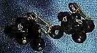 LEwis Segal black jet cluster dangle earrings, pierced