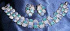 Vintage demi parure bracelet and earrings, blue stones