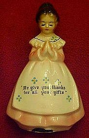 Enesco pink  Prayer lady salt ,pepper shaker, single