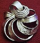 Large Coro silvertone brooch / pin