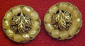 Vintage clip earrings by TARA, leaf and pearls
