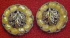 Vintage clip earrings by TARA, leaf and pearls