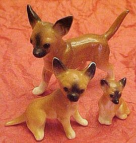 Vintage bone china  miniature chihuahua family