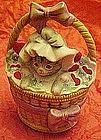 Valentine kitten in basket, musical revolving figurine