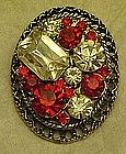 Large rhinestone pin, ruby red and crystal stones