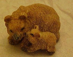 Miniature bear and cub figurine