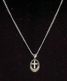 Sterling silver cross and chain, marked Marvel